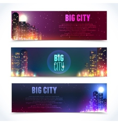 City at night horizontal banners vector