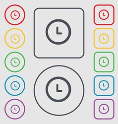 clock icon sign symbol on the Round and square vector image