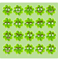 cute cartoon four-leaf clover with many vector image