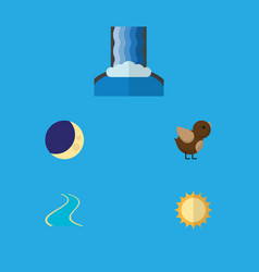 Flat icon nature set of solar bird half moon and vector