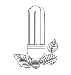 grayscale contour with fluorescent bulb and leaves vector image vector image