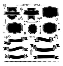 Hand drawn banners and ribbons vector