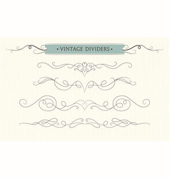 Hand drawn flourishes text divider elements vector