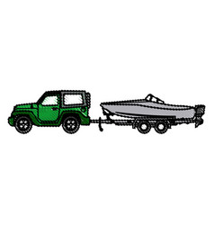 jeep with boat trailer travel tourism image vector image
