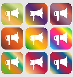Megaphone icon nine buttons with bright gradients vector