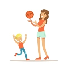 Mom and son playing basketball loving mother vector