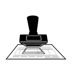 monochrome office stamp with document vector image