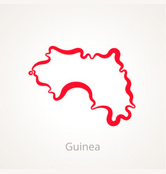 Outline map of guinea marked with red line vector