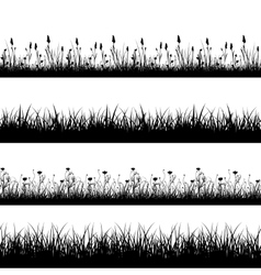 Seamless wild herbs flowers and grass silhouettes vector