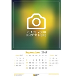 September 2017 wall monthly calendar for 2017 vector