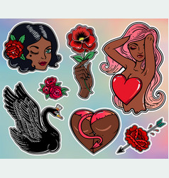 Set of black beauty related flash style patches vector