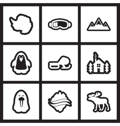 Set of flat icon in black and white style Arctic vector image vector image