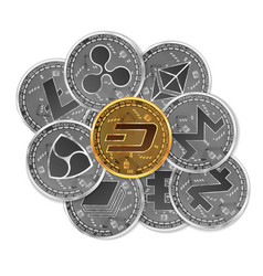 Set of gold and silver crypto currencies vector