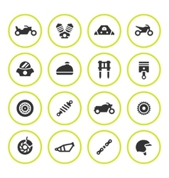 Set round icons of motorcycle vector