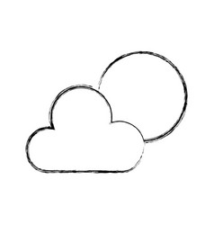 Sketch draw sun and cloud vector