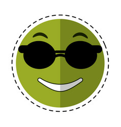 Sunglasses and thumb emoticon style cut line vector