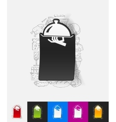 Tray paper sticker with hand drawn elements vector