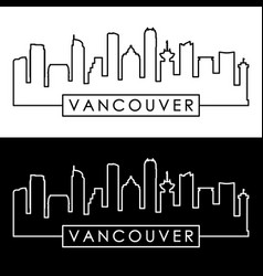Vancouver skyline colorful linear style vector