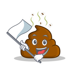 with flag poop emoticon character cartoon vector image