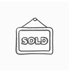 Sold placard sketch icon vector