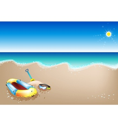 Inflatable boat and scuba mask vector
