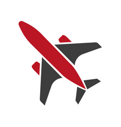Flying black and red aircraft hand drawn isolated vector