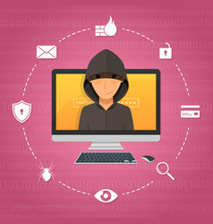 hacker activity and attack concept vector image