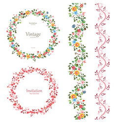 Romantic floral collection vertical seamless vector