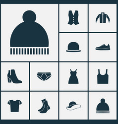 Garment icons set collection of dress sneakers vector