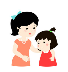 Mother soothes crying daughter xakind mom soothes vector