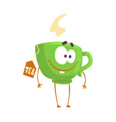 Cute cartoon green cup of tea with smiley face vector