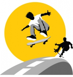 skateboard moon vector image