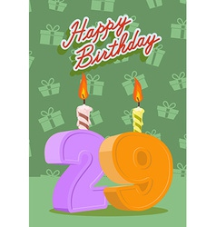 29 year Happy Birthday Card vector image vector image