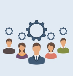 Business people with cogwheels business teamwork - vector