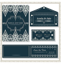 Wedding invitation cards tag and envelope wedding vector