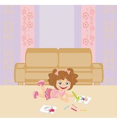 Sweet little girl drawing artwork with crayons vector