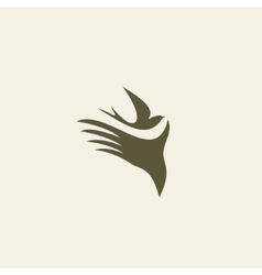Silhouette swallow in human hands vector