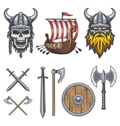 Set of colored viking elements vector