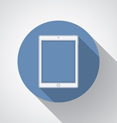 Tablet flat icon with long shadow vector