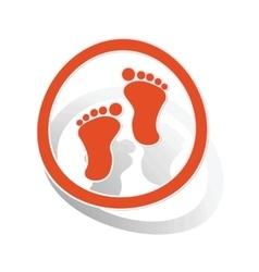 Footprint sign sticker orange vector