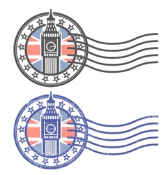 Grunge stamp with Big Ben and British flag vector image