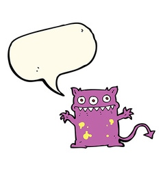 Cartoon little monster with speech bubble vector