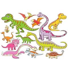 cute dinosaurs cartoon character vector image