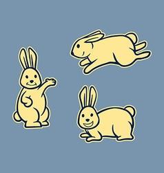 Rabbit line art set vector