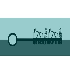 Key with growth word and mining equipment icons vector