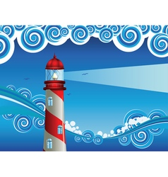 Lighthouse in the sea6 vector