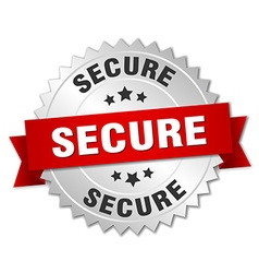 Secure 3d silver badge with red ribbon vector