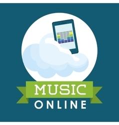 Music online design media icon flat vector
