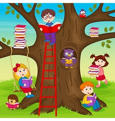 Hildren are reading books on tree vector