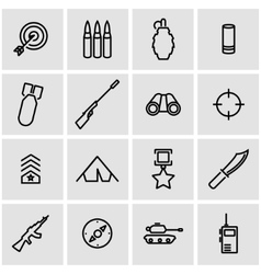 Line military icon set vector